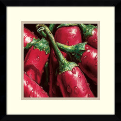 AlmaCh Hot Peppers Framed Art Print White/Warm Gray