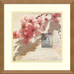 Amanti Art Deborah Schenck Vintage Letters and Cherry Blossoms Framed Art Spice AA981524