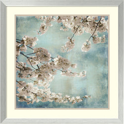 John Seba Aqua Blossoms II Framed Art Print White/Warm Gray