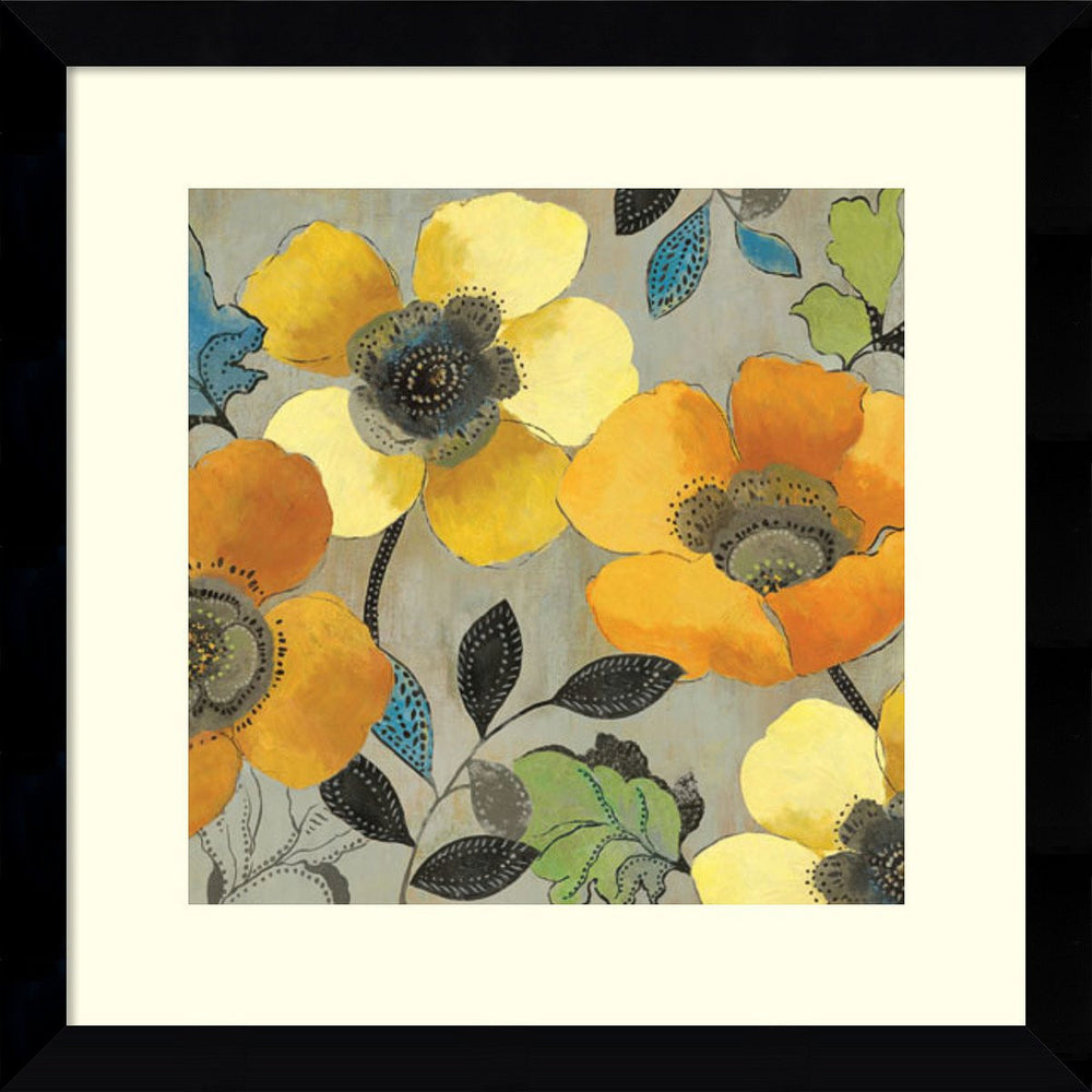 Allison Pearce Yellow and Orange Poppies II Framed Art Print Satin Black