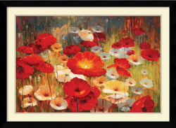 Amanti Art Lucas Santini Meadow Poppies I Framed Art Print Satin Black AA986934