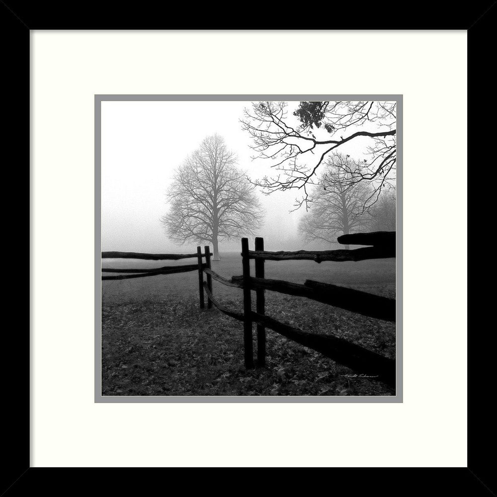 Harold Silverman Fence in the Mist Framed Art Print Polar White/Harbor