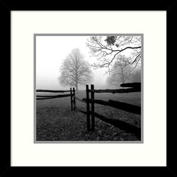 Amanti Art Harold Silverman Fence in the Mist Framed Art Print Polar White/Harbor AA987451