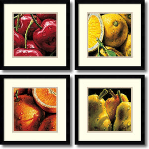 "15""H AlmaCh Fruit- set of 4 Framed Art Print White/Warm Gray"
