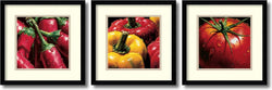 AlmaCh Vegetable- set of 3 Framed Art Print White/Warm Gray
