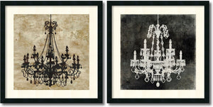 "26""H Oliver Jeffries Chandelier Set of 2 Framed Art Print Satin Black"