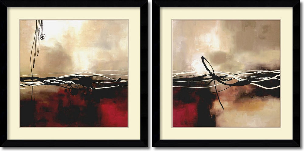 Laurie Maitland Symphony in Red and Khaki Set of 2 Framed Art Print