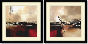 "33""H Laurie Maitland Symphony in Red and Khaki Set of 2 Framed Art Print"