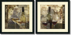 "25""H Keith Mallett Chardonnay and Shiraz Set of 2 Framed Art Print Satin Black"