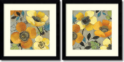 Amanti Art Allison Pearce Yellow and Orange Poppies Set of 2 Framed Art Print Satin Black AA995063
