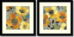 "27""H Allison Pearce Yellow and Orange Poppies Set of 2 Framed Art Print Satin Black"