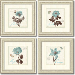 Amanti Art Katie Pertiet Touch of Blue- set of 4 Framed Art Print Oyster Shell AA995064