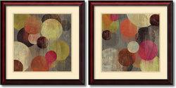 "26""H Tom Reeves Magenta Bubbles Set of 2 Framed Art Print Soft Cream/Heritage Gray"