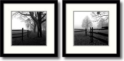 Harold Silverman Corner Fence in the Mist Set of 2 Framed Art Print