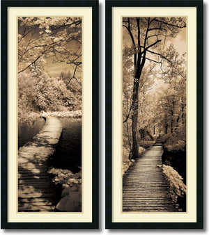 "42""H x 18""W Ily Szilagyi A Quiet Stroll Set of 2 Framed Art Print Satin Black"