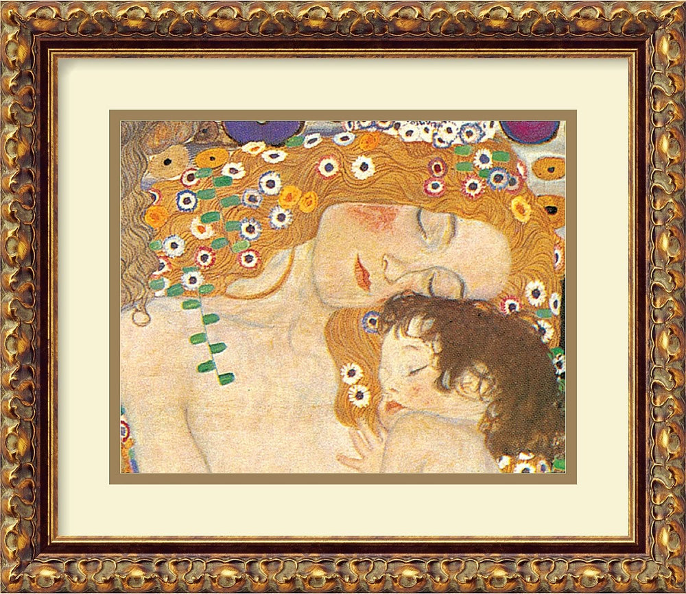 "13""H x 15""W Gustav Klimt Three Ages of Woman Mother and Child Detail IV 1905 Framed Print"