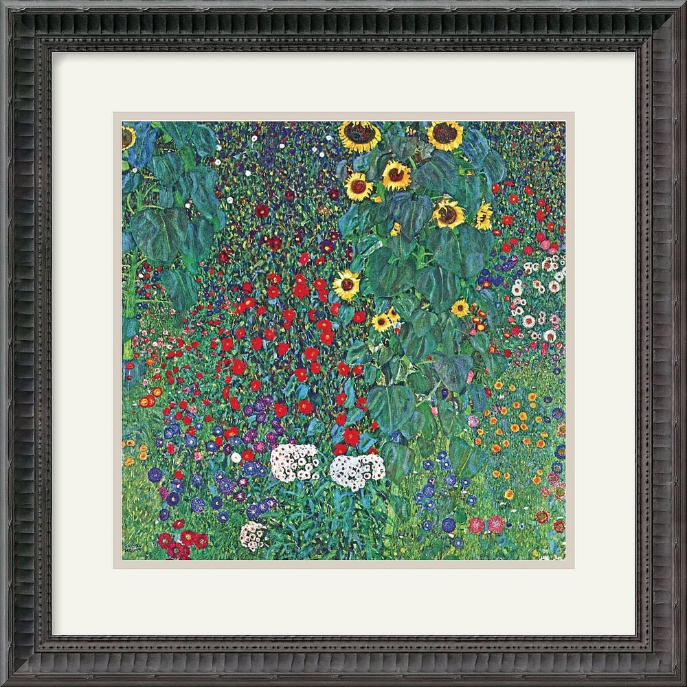"19""H x 19""W Gustav Klimt Farm Garden with Sunflowers c. 1906 Framed Print"