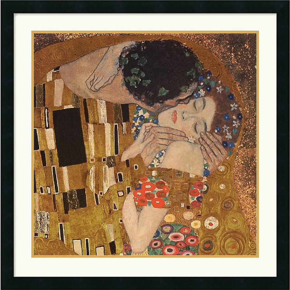 "30""H x 30""W Gustav Klimt The Kiss detail 1907 Framed Print"