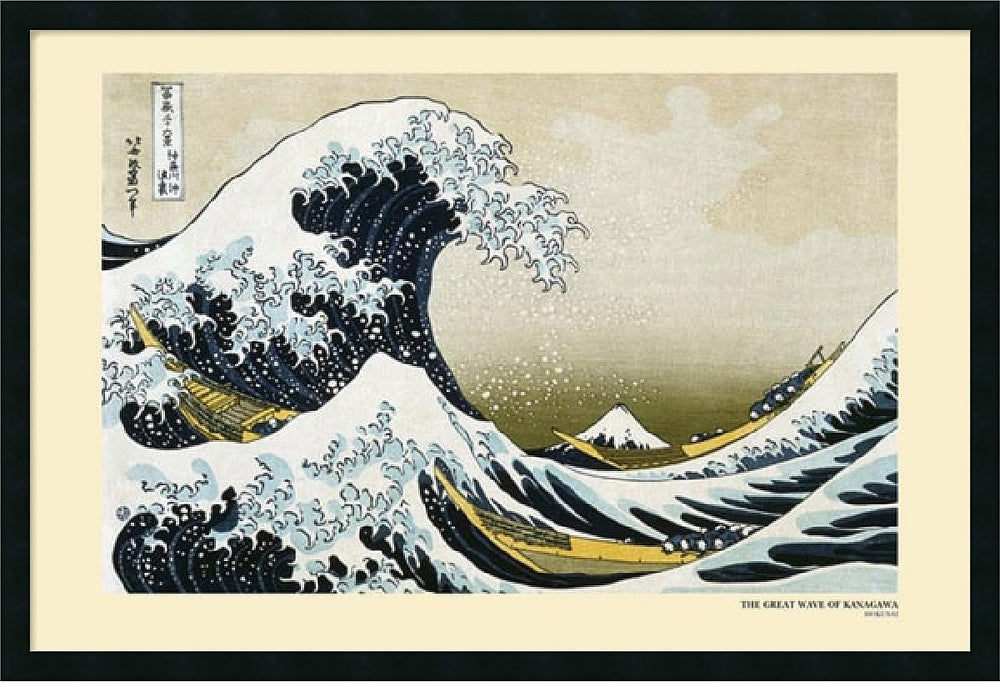 "37x25"" Katsushika Hokusai The Great Wave off the Coast of Kanagawa Framed Print"