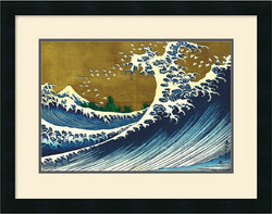 Amanti Art Katsushika Hokusai Big Wave from 100 views of Mt. Fuji Framed Print AA84544