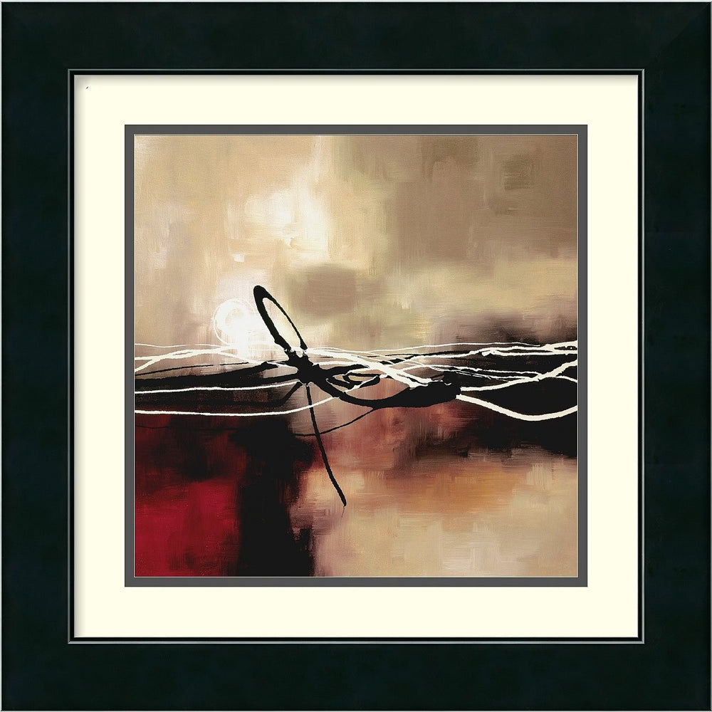 "17x17"" Laurie Maitland Symphony in Red and Khaki II Framed Print"