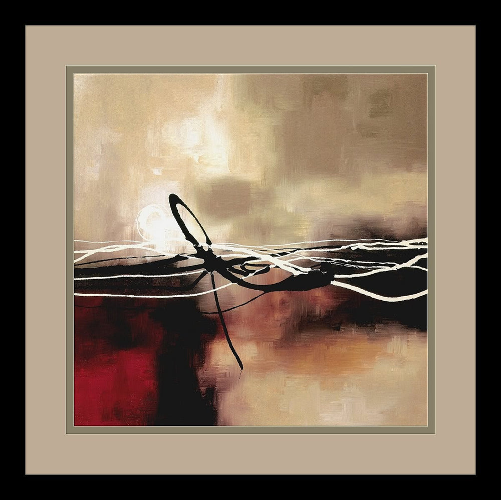 "15x15"" Laurie Maitland Symphony in Red and Khaki II Framed Print"