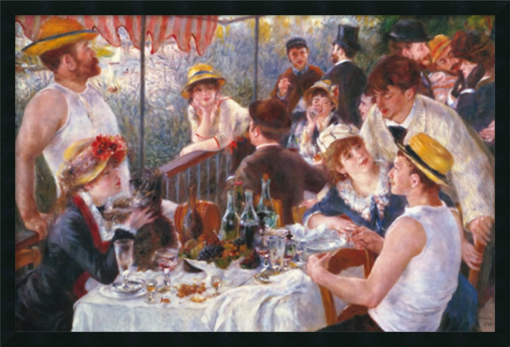 "26x38"" Luncheon of the Boating Party 1881 Wall Art Satin Black"
