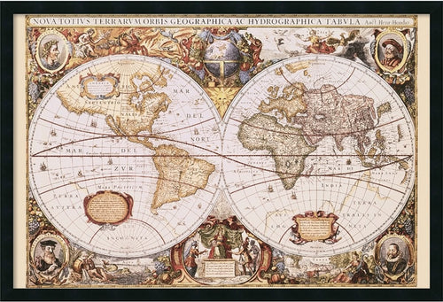Amanti Art Map of The World Framed Art Gel Coated AA169881
