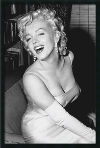 "38x26"" Marilyn Monroe Smiling Wall Art Satin Black"