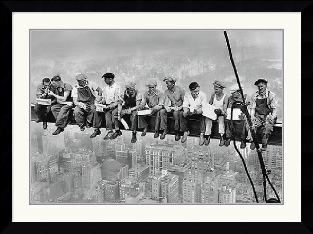 "43x32"" New York Lunch Atop a Skyscraper Framed Print"