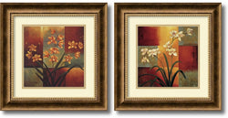 "17x17"" Orchids Framed Art Burnished Bronze"