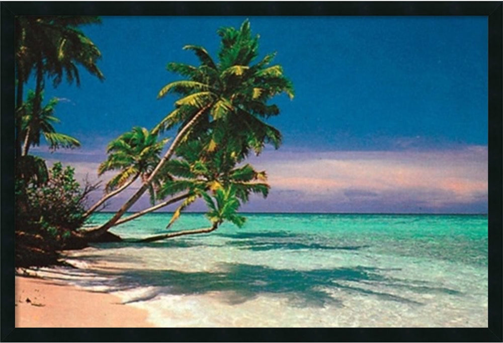 "25x37"" Tropical Beach Framed Art Gel Coated"