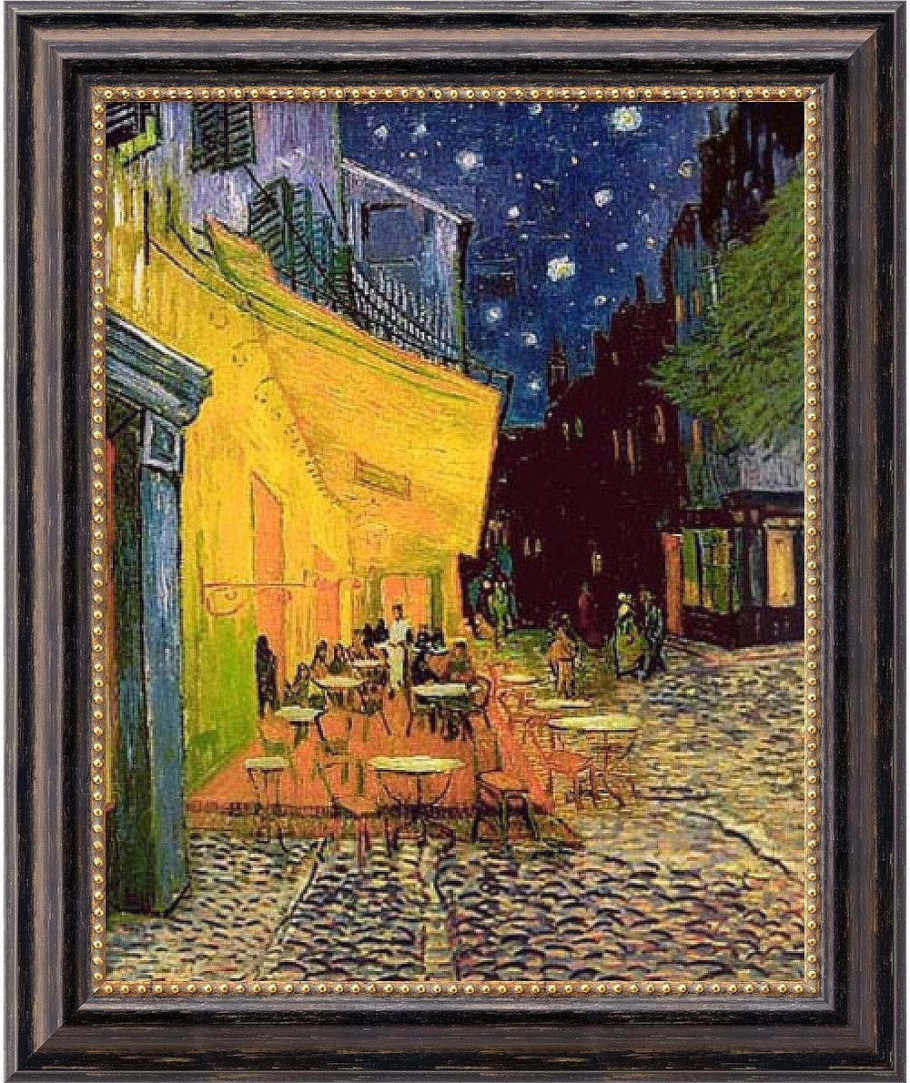 "20x24"" Vincent Van Gogh Cafe Terrace At Night Framed Art Canvas Canvas"