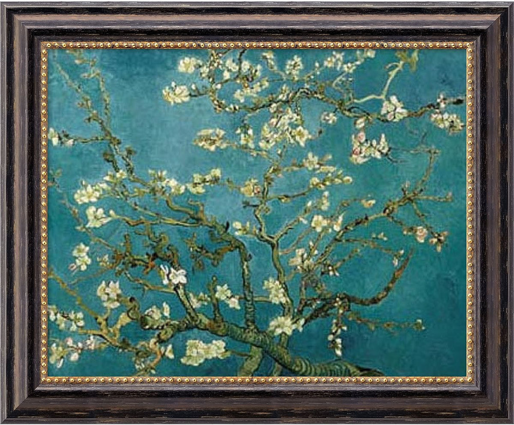 "24x20"" Vincent Van Gogh Almond Blossom 1890 Framed Art Canvas Canvas"