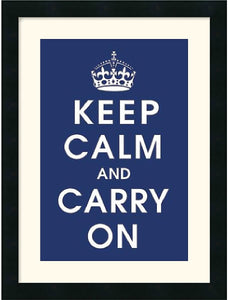 Amanti Art Vintage Repro Keep Calm navy Framed Print AA113529
