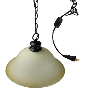 "16""W Plug In Swag Amber Glass Pendant Light Bronze Finish"