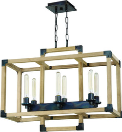 Cubic 6-Light Chandelier Fired Steel/Natural Wood