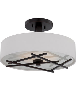 "15""W Stix 1-Light Close-to-Ceiling Patina Bronze / White"