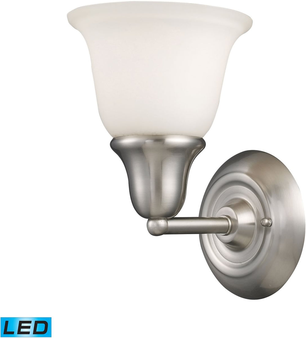 "7""W Berwick 1-Light LED Wall Sconce Brushed Nickel/White Glass"