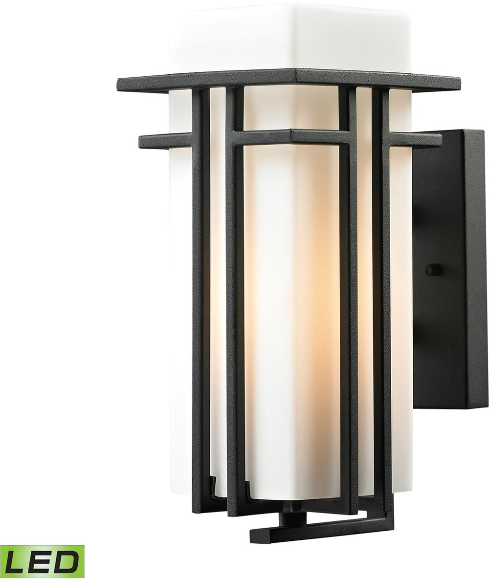 "12""H Croftwell 1-Light Outdoor LED Sconce Textured Matte Black"