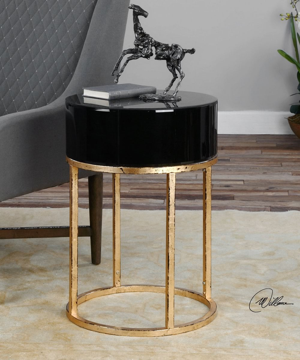 "26""H Myles Curved Black Accent Table"