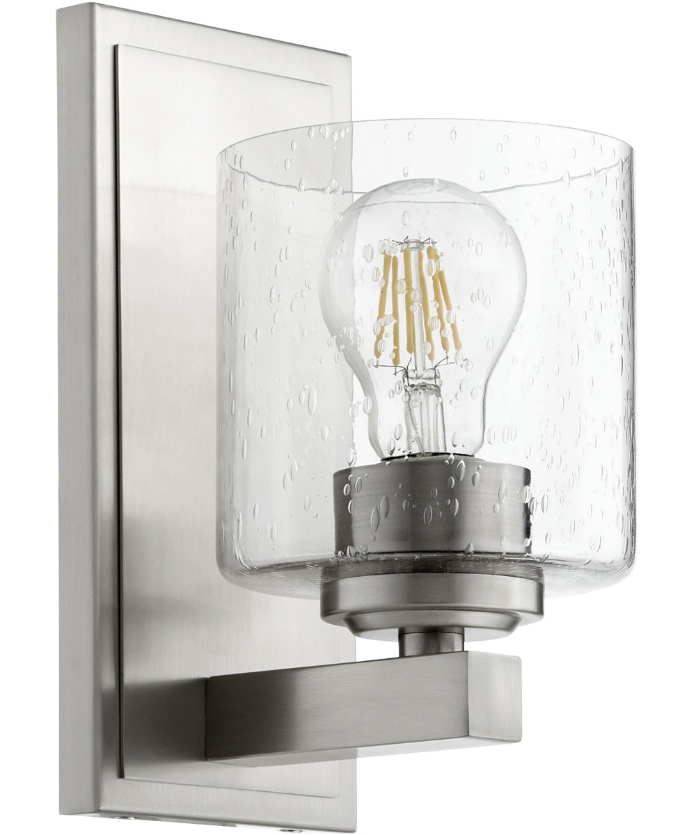 1-light Wall Mount Light Fixture Satin Nickel w/ Clear/Seeded