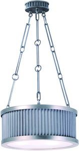 0-002190>Ruffle 3-Light Pendant Weathered Zinc and Satin Nickel