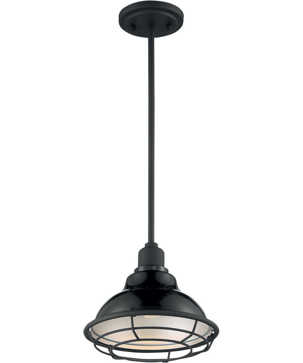 "10""W Newbridge 1-Light Pendant Gloss Black / Silver"
