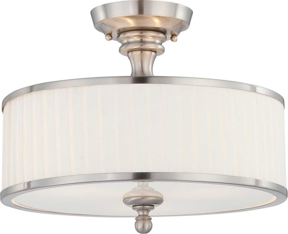 Candice 3-Light Close-to-Ceiling Brushed Nickel
