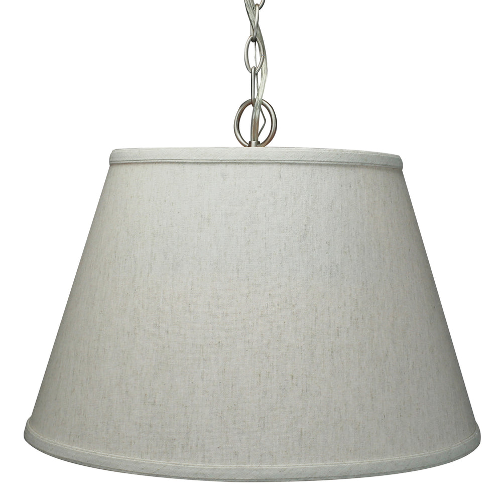 "16""W Satin Nickel Pendant Light with Textured Oatmeal Slotted Pendant Empire Shade and Diffuser"