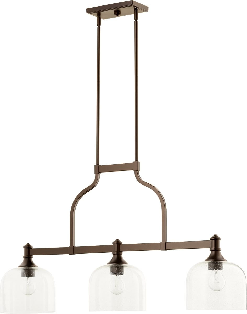 "38""W Richmond 3-light Kitchen Island Light Oiled Bronze w/ Clear/Seeded"