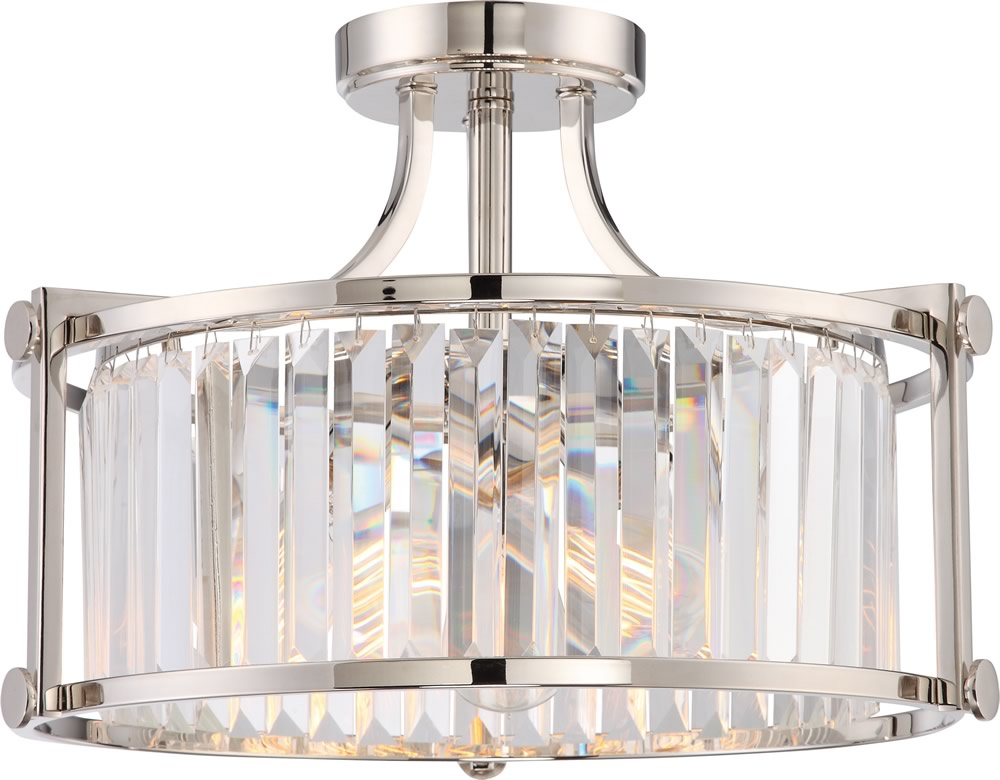 "18""W Krys 3-Light Close-to-Ceiling Polished Nickel"
