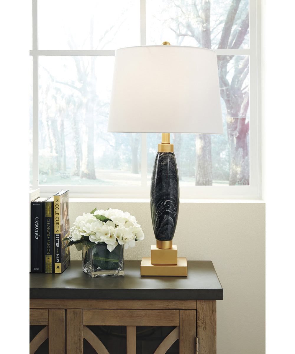 "26""H Malencia Marble Table Lamp (1/CN) Black/Brass"