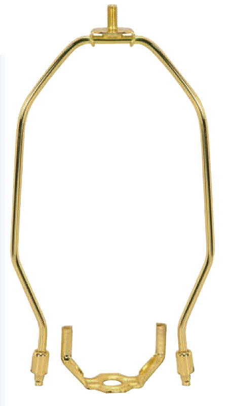 "9""H Polished Brass Heavy Duty Harp Fitter For Lamp Shades"